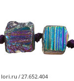 Купить «two beads from iridescent pyrite gem stones», фото № 27652404, снято 27 мая 2019 г. (c) PantherMedia / Фотобанк Лори