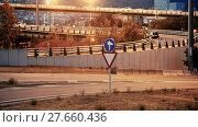 Купить «View of city highway in dusk with trace of blurred red automobile headlights beams», видеоролик № 27660436, снято 11 августа 2017 г. (c) Яков Филимонов / Фотобанк Лори