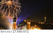 Купить «New Year celebrations with city lights at Placa Espana in Barcelona», видеоролик № 27660612, снято 8 января 2017 г. (c) Яков Филимонов / Фотобанк Лори