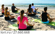 Купить «Back view of sporty people meditating in yoga position Padmasana on beach», видеоролик № 27660668, снято 22 июня 2017 г. (c) Яков Филимонов / Фотобанк Лори