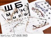 Купить «Очки лежат на таблице для проверки зрения», эксклюзивное фото № 27668960, снято 9 февраля 2018 г. (c) Юрий Морозов / Фотобанк Лори