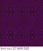 Купить «Abstract geometric seamless background. Various circles and ellipses pattern, in violet and purple shades with olive green elements and outlines, luscious and ornate.», фото № 27669520, снято 22 мая 2018 г. (c) PantherMedia / Фотобанк Лори