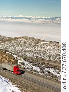 Купить «Big Rig Truckers Semi Truck Travels Interstate Cascade Range Background», фото № 27670408, снято 19 апреля 2019 г. (c) PantherMedia / Фотобанк Лори