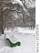 Купить «Скамейка в зимнем парке. Санкт-Петербург», фото № 27670816, снято 9 февраля 2018 г. (c) Румянцева Наталия / Фотобанк Лори