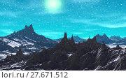 Купить «Alien Planet. Mountain. Animation. Panorama. 4K», видеоролик № 27671512, снято 10 февраля 2018 г. (c) Parmenov Pavel / Фотобанк Лори