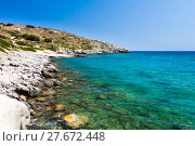 Купить «Kolymbia beach with the rocky coast in Greece.», фото № 27672448, снято 23 апреля 2019 г. (c) PantherMedia / Фотобанк Лори