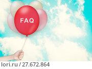 Купить «Hand Holding FAQ or Frequently asked questions Balloon», фото № 27672864, снято 25 июня 2019 г. (c) PantherMedia / Фотобанк Лори