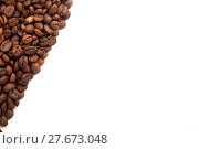 Купить «roasted coffee beans with space for advertising text isolated on white background», фото № 27673048, снято 11 декабря 2018 г. (c) PantherMedia / Фотобанк Лори