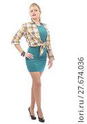 Купить «beautiful young woman clothed in a green dress and a shirt», фото № 27674036, снято 19 января 2019 г. (c) PantherMedia / Фотобанк Лори