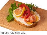 Купить «Scandinavian eggs and shrimps», фото № 27675232, снято 19 сентября 2019 г. (c) PantherMedia / Фотобанк Лори