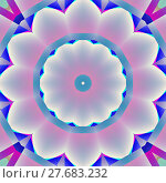 Купить «Geometric seamless background. Abstract blossom, concentric circle ornament in shiny white, pink and light gray shades with elements in purple, violet, dark blue and turquoise.», фото № 27683232, снято 20 июля 2018 г. (c) PantherMedia / Фотобанк Лори