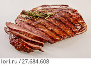 Купить «Carved barbecued medium-rare flank steak», фото № 27684608, снято 19 марта 2019 г. (c) PantherMedia / Фотобанк Лори