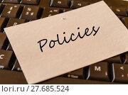 Купить «Policies - note on keyboard in the office», фото № 27685524, снято 20 мая 2019 г. (c) PantherMedia / Фотобанк Лори
