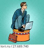 Купить «Businessman worker on a circus pedestal», фото № 27689740, снято 16 сентября 2019 г. (c) PantherMedia / Фотобанк Лори