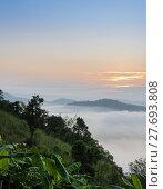Купить «Sunrise with sea of fog above Mekong river in Nong Khai Province, Thailand», фото № 27693808, снято 23 августа 2019 г. (c) PantherMedia / Фотобанк Лори
