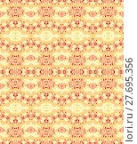 Купить «Abstract geometric seamless background. Ornate diamond and zigzag pattern in yellow, beige and pink shades on peach color.», фото № 27695356, снято 24 мая 2018 г. (c) PantherMedia / Фотобанк Лори