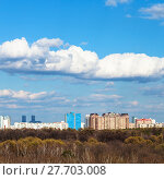 Купить «blue sky with white clouds over city in sunny day», фото № 27703008, снято 25 мая 2019 г. (c) PantherMedia / Фотобанк Лори
