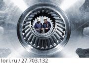 Купить «engineering and large cogwheels and gears», фото № 27703132, снято 15 октября 2018 г. (c) PantherMedia / Фотобанк Лори