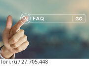 Купить «business hand clicking FAQ or Frequently asked questions button on search toolbar», фото № 27705448, снято 25 июня 2019 г. (c) PantherMedia / Фотобанк Лори
