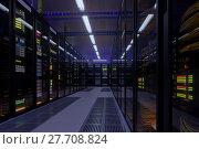 Купить «Working data center interior», фото № 27708824, снято 21 октября 2018 г. (c) Антон Гвоздиков / Фотобанк Лори