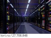 Купить «Working data center interior», фото № 27708848, снято 19 января 2020 г. (c) Антон Гвоздиков / Фотобанк Лори