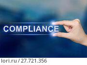Купить «hand clicking compliance button», фото № 27721356, снято 16 июня 2019 г. (c) PantherMedia / Фотобанк Лори