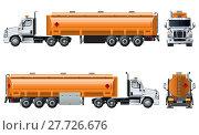 Купить «Vector realistic tanker truck template isolated on white», иллюстрация № 27726676 (c) Александр Володин / Фотобанк Лори
