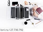 Купить «Workplace at the office. Technology.», фото № 27730792, снято 26 июня 2019 г. (c) PantherMedia / Фотобанк Лори