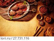 Купить «Indian style shish kebob dinner with copy space», фото № 27731116, снято 23 февраля 2018 г. (c) PantherMedia / Фотобанк Лори