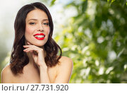 Купить «beautiful smiling young woman with red lipstick», фото № 27731920, снято 5 января 2018 г. (c) Syda Productions / Фотобанк Лори