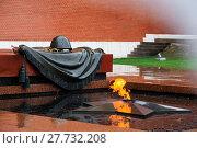 Купить «Вечный огонь на Могиле Неизвестного Солдата в Александровском саду у Кремлевской стены в дождь», фото № 27732208, снято 16 июня 2017 г. (c) Мария Москвицова / Фотобанк Лори