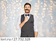 Купить «happy young man with fake mustache at party», фото № 27732328, снято 15 декабря 2017 г. (c) Syda Productions / Фотобанк Лори