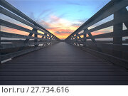 Купить «Wooden Boardwalk at sunset», фото № 27734616, снято 18 июня 2019 г. (c) PantherMedia / Фотобанк Лори