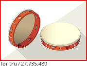 Купить «Tambourine isometric perspective view flat», иллюстрация № 27735480 (c) PantherMedia / Фотобанк Лори
