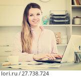 Купить «Female having productive day at work», фото № 27738724, снято 13 марта 2017 г. (c) Яков Филимонов / Фотобанк Лори