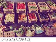 Купить «fruits and veggies store», фото № 27739152, снято 10 июля 2020 г. (c) Яков Филимонов / Фотобанк Лори
