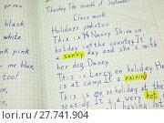 Купить «Классная работа в тетради по английскому языку с пометками учителя», фото № 27741904, снято 22 ноября 2017 г. (c) Кекяляйнен Андрей / Фотобанк Лори