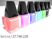 Купить «Nail polish of different colors in a row», фото № 27748228, снято 17 ноября 2018 г. (c) PantherMedia / Фотобанк Лори