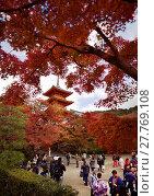 Купить «People visiting Kiyomizu-dera Buddhist temple with Sanjunoto pagoda in the background in a colorful fall scenery, Kyoto, Japan.», фото № 27769108, снято 19 ноября 2017 г. (c) age Fotostock / Фотобанк Лори