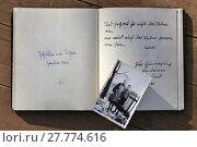 Купить «side of an old poetry album with old analog photo», фото № 27774616, снято 22 октября 2018 г. (c) PantherMedia / Фотобанк Лори