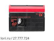 Купить «minidv video cassette on white background», фото № 27777724, снято 20 января 2019 г. (c) PantherMedia / Фотобанк Лори