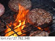 Купить «Meat burgers for hamburger grilled on flame grill», фото № 27782348, снято 17 июля 2019 г. (c) PantherMedia / Фотобанк Лори