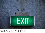 Купить «Exit sign points the way out», фото № 27784116, снято 17 августа 2019 г. (c) PantherMedia / Фотобанк Лори