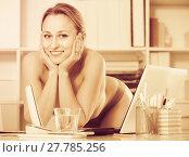 Купить «Portrait of young girl in underpants in the office», фото № 27785256, снято 24 апреля 2017 г. (c) Яков Филимонов / Фотобанк Лори