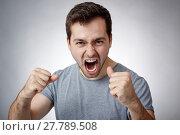 Купить «Young man shouting», фото № 27789508, снято 21 февраля 2018 г. (c) PantherMedia / Фотобанк Лори