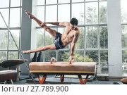 Купить «The sportsman during difficult exercise, sports gymnastics», фото № 27789900, снято 16 июля 2019 г. (c) PantherMedia / Фотобанк Лори
