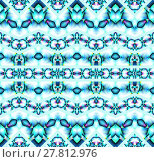 Купить «Abstract geometric seamless background. Ornate zigzag pattern with elements in turquoise, blue gray, violet and purple shades on white. Various elements, extensive and dreamy.», фото № 27812976, снято 24 января 2019 г. (c) PantherMedia / Фотобанк Лори