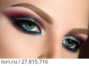 Close up of green woman eyes with fashion makeup. Стоковое фото, фотограф Людмила Дутко / Фотобанк Лори