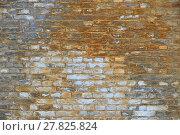 Купить «Old grunge brick wall with paint stains background», фото № 27825824, снято 26 мая 2018 г. (c) PantherMedia / Фотобанк Лори