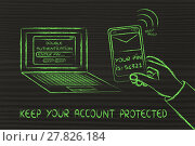 Купить «double authentication and account security, illustration with laptop and text on phone», фото № 27826184, снято 21 мая 2018 г. (c) PantherMedia / Фотобанк Лори